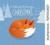 trendy christmas vector card... | Shutterstock .eps vector #504331837