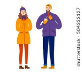 cartoon pair wearing winter... | Shutterstock .eps vector #504333127