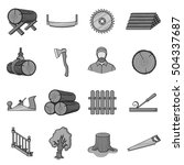 sawmil and timber set icons in... | Shutterstock .eps vector #504337687