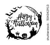 happy halloween  typographic... | Shutterstock .eps vector #504342913