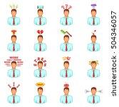 stress icons set. cartoon...   Shutterstock .eps vector #504346057