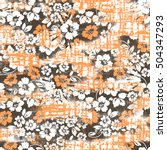 retro floral print over fabric... | Shutterstock . vector #504347293