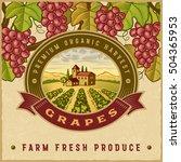 vintage colorful grapes harvest ... | Shutterstock . vector #504365953