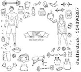 hand drawn doodle fitness icons ... | Shutterstock .eps vector #504390307