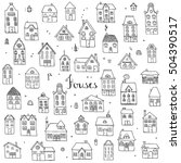 hand drawn doodle street homes... | Shutterstock .eps vector #504390517