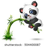 Stock vector vector illustration of cute baby panda tree climbing bamboo 504400087