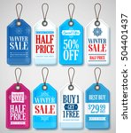 winter sale tags set for season ... | Shutterstock .eps vector #504401437