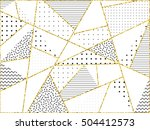 gold triangles with dot  line ... | Shutterstock .eps vector #504412573