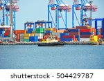 tugboat and crane in harbor... | Shutterstock . vector #504429787