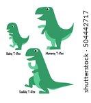 cute tyrannosaurus rex family... | Shutterstock .eps vector #504442717