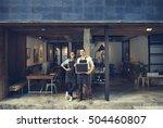 couple barista coffee shop... | Shutterstock . vector #504460807