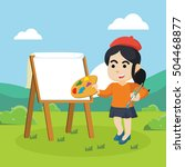painter woman painting in... | Shutterstock . vector #504468877