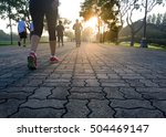 group of people exercising in... | Shutterstock . vector #504469147