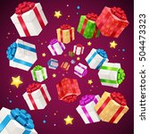 present boxes background... | Shutterstock .eps vector #504473323