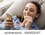 relaxed smiling woman on the... | Shutterstock . vector #504503197