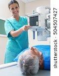 patient undergoing scan test in ...