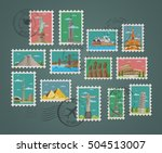 postage stamp and postmarks... | Shutterstock .eps vector #504513007