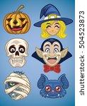 cartoon of halloween characters ... | Shutterstock .eps vector #504523873