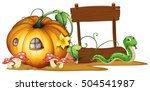 wooden sign with pumpkin and...   Shutterstock .eps vector #504541987