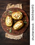baked stuffed potatoes with...   Shutterstock . vector #504546493