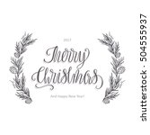 merry christmas lettering and...   Shutterstock .eps vector #504555937