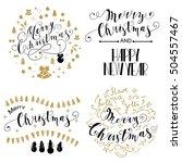 merry christmas lettering... | Shutterstock .eps vector #504557467