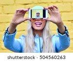 fashion woman makes self... | Shutterstock . vector #504560263