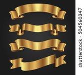 set of golden ribbons on black...   Shutterstock .eps vector #504560347