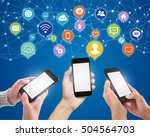 hand touching screen smartphone ... | Shutterstock . vector #504564703