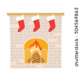 christmas fireplace with... | Shutterstock .eps vector #504569863