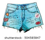 girl denim short watercolor... | Shutterstock .eps vector #504585847