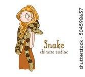cute girl holding snake  ... | Shutterstock .eps vector #504598657