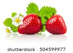 Strawberries With Green Leaf...