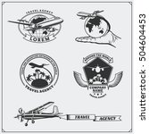 airplane travel labels  emblems ... | Shutterstock .eps vector #504604453
