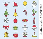 set of flat outlined christmas... | Shutterstock .eps vector #504608947
