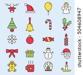 set of flat outlined christmas...   Shutterstock .eps vector #504608947