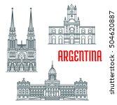 famous landmarks of argentina.... | Shutterstock .eps vector #504620887