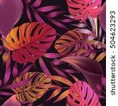 tropical flowers  jungle leaves ... | Shutterstock .eps vector #504623293
