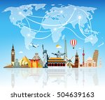 travel composition with famous... | Shutterstock .eps vector #504639163