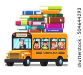 school bus riding with kids and ... | Shutterstock .eps vector #504644293