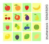 flat style fruit icon set for...