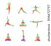 Yoga Poses Abstract Silhouette...