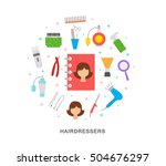 hairdressers object icons   Shutterstock .eps vector #504676297