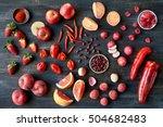 overhead series of assorted red ... | Shutterstock . vector #504682483