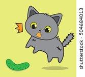 cute cat afraid of cucumber... | Shutterstock .eps vector #504684013