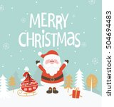 christmas greeting card. merry... | Shutterstock .eps vector #504694483