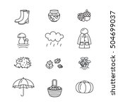 big collection of linear icons... | Shutterstock .eps vector #504699037