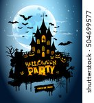 happy halloween party vector... | Shutterstock .eps vector #504699577