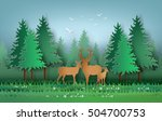 deer in the forest with... | Shutterstock .eps vector #504700753