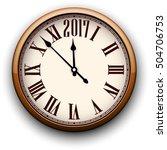 2017 new year round 3d clock.... | Shutterstock .eps vector #504706753